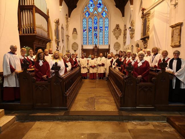 The choir which sang at Wroughton Parish Church's silver jubilee service