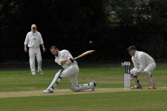 Mark McMeeking hits out on his way to a score of 61 for Wroughton Wranglers during their 140-run win at home to Corsham 3rd in Division Four          Picture: DAVE COX