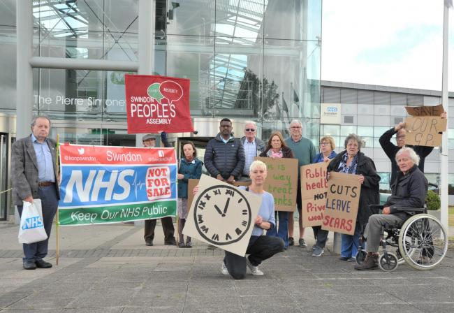 IMH protestors outside Swindon CCG's offices earlier this year 				Picture: DAVE COX