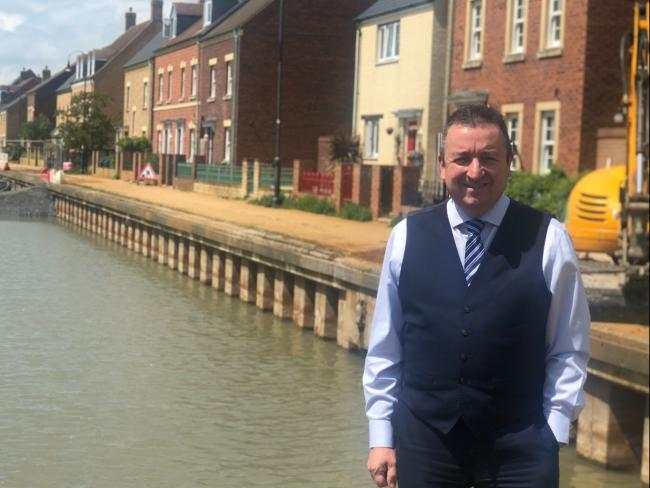 Councillor Gary Sumner at the East Wichel canal where water levels have been dropping