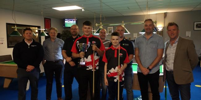 Charlie and Jack Begley pictured with sponsors at the 147snooker club in Swindon