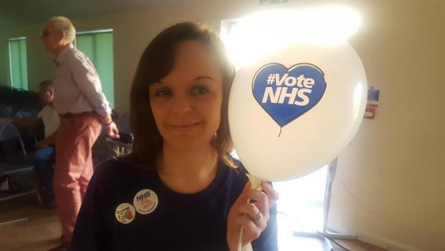 Samantha Waten at the Keep Our NHS Public event.
