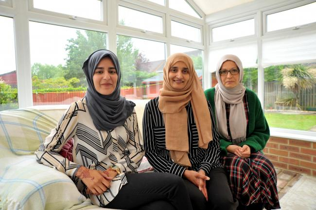 An international food fair will return in Swindon, Tajwar Hassan and her friends and families have worked together to organise it..left 2 right .Pic - Hibah Hassan , Tajwar Hassan, Shaheeda Mohammed.Date 12/6/19.Pic by Dave Cox.