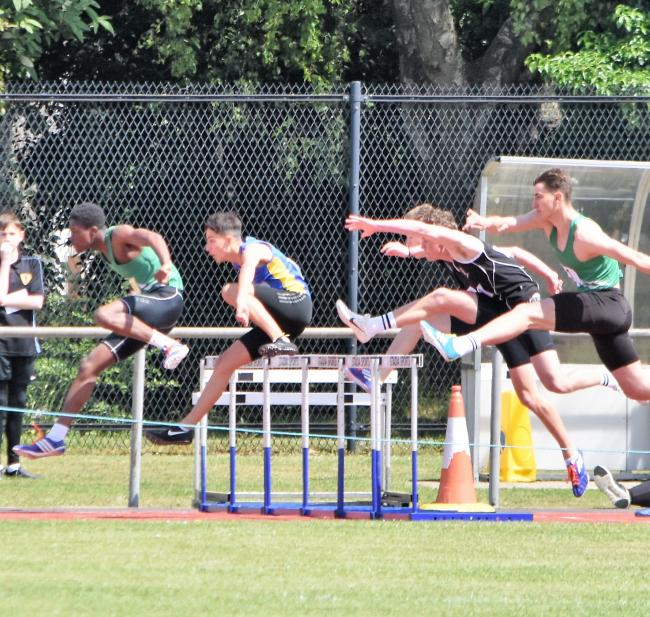 Action from the 110m hurdles race at the Wiltshire Schools' Track & Field Championships in Swindon on Saturday				        Picture: GRAHAM MATTACKS