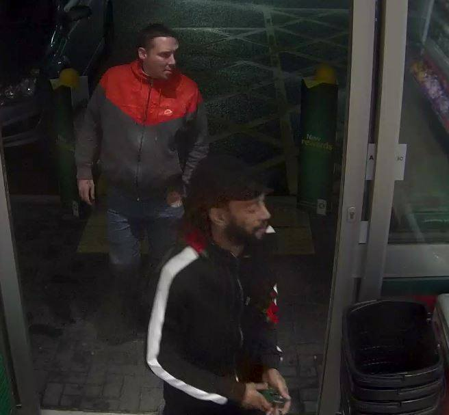 Swindon police want to speak to these men about vintage champagne stolen from a BP garage